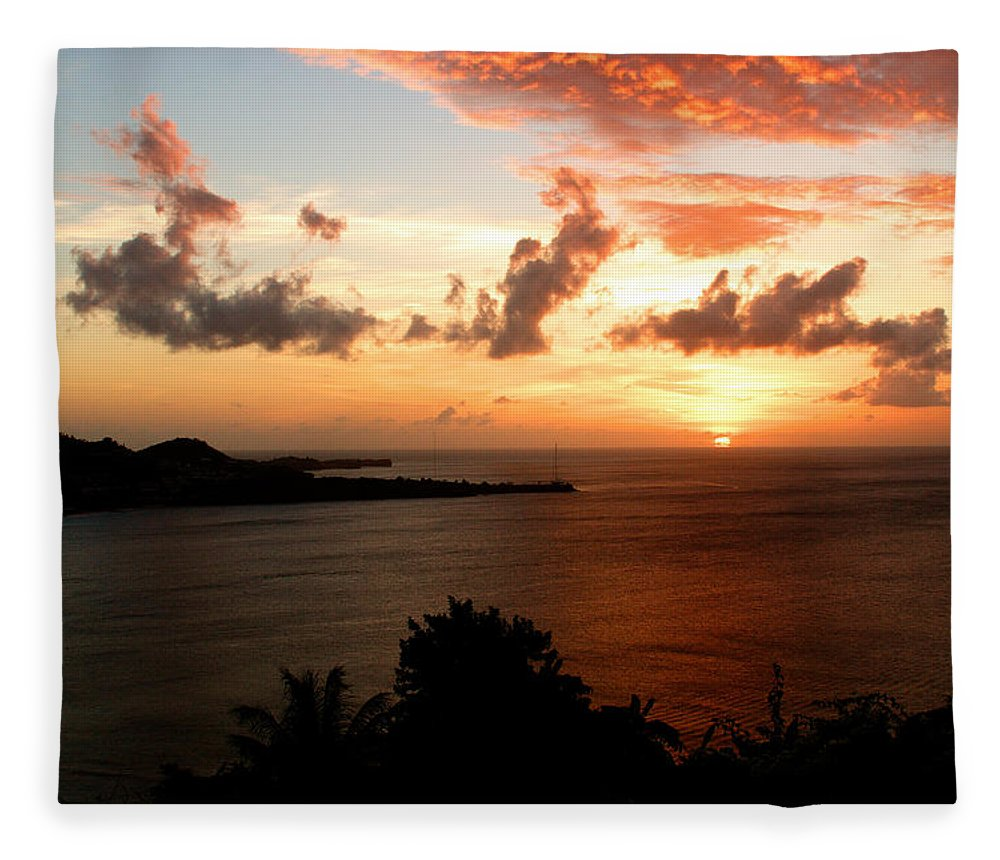 Sunset Fleece Blanket featuring the photograph Grenadian Sunset II by Jean Macaluso