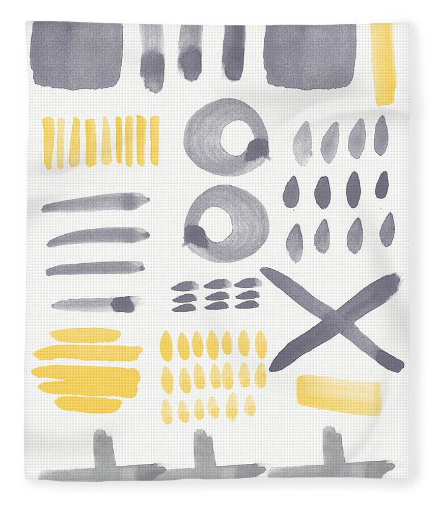 Grey And Yellow Fleece Blanket featuring the painting Grey and Yellow Shapes- abstract painting by Linda Woods
