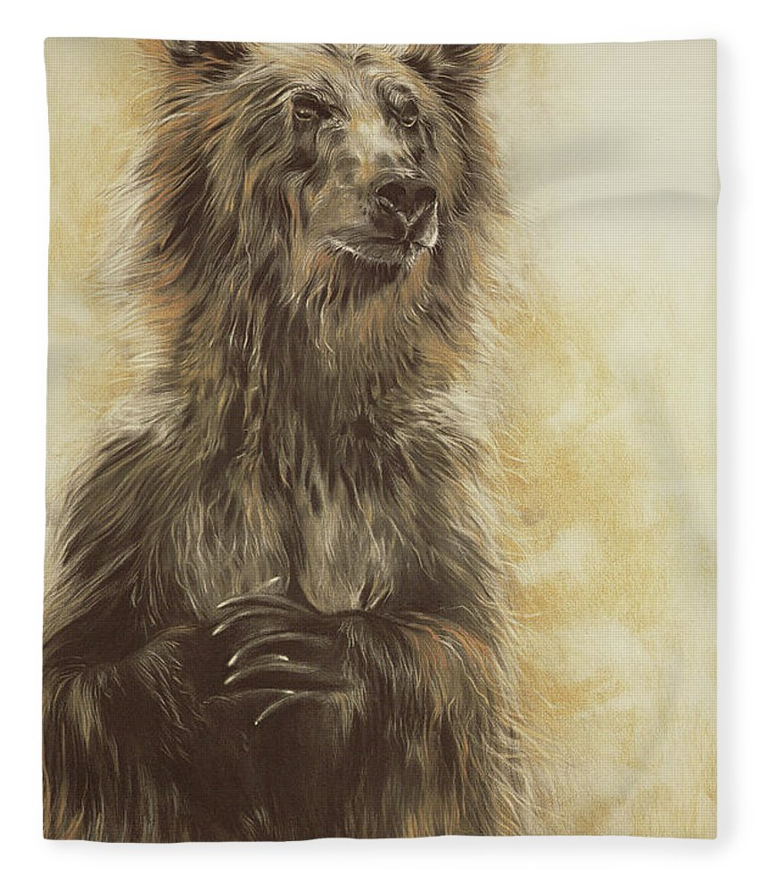 Wild Fleece Blanket featuring the drawing Grizzly Bear by Odile Kidd