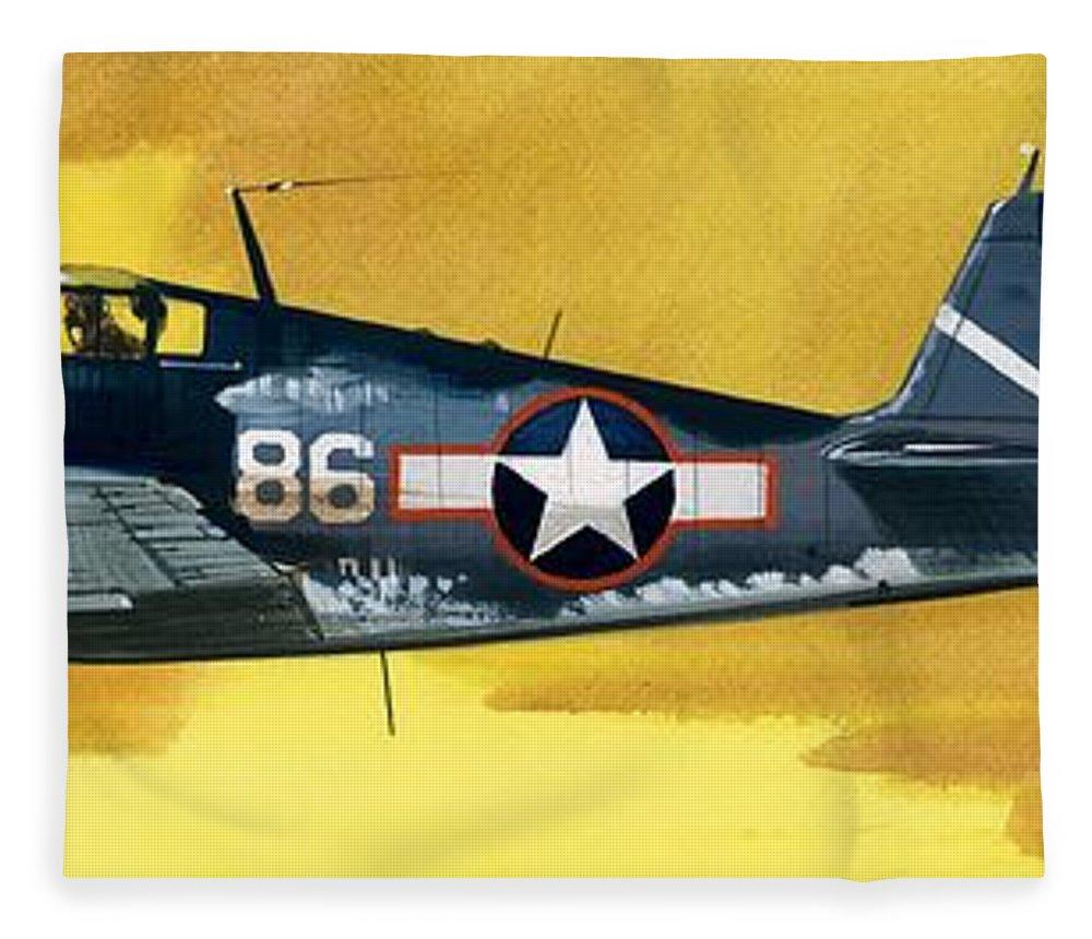 Aircraft; Aeroplane; Plane; Flying; Grumman F4rf-3 Wildcat; Grumman F6f-3 Hellcat; Chance Vought F4u-1a Corsair Fleece Blanket featuring the painting Grumman F6f-3 Hellcat by Wilf Hardy