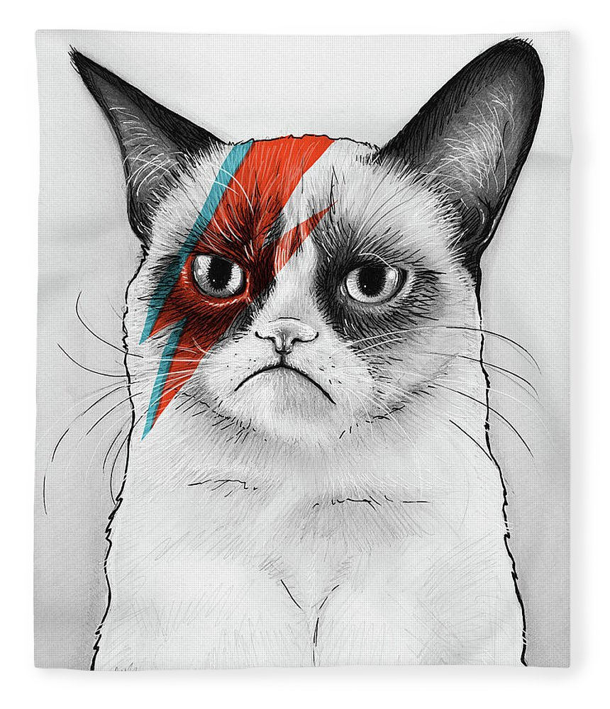 Grumpy Cat Fleece Blanket featuring the drawing Grumpy Cat as David Bowie by Olga Shvartsur
