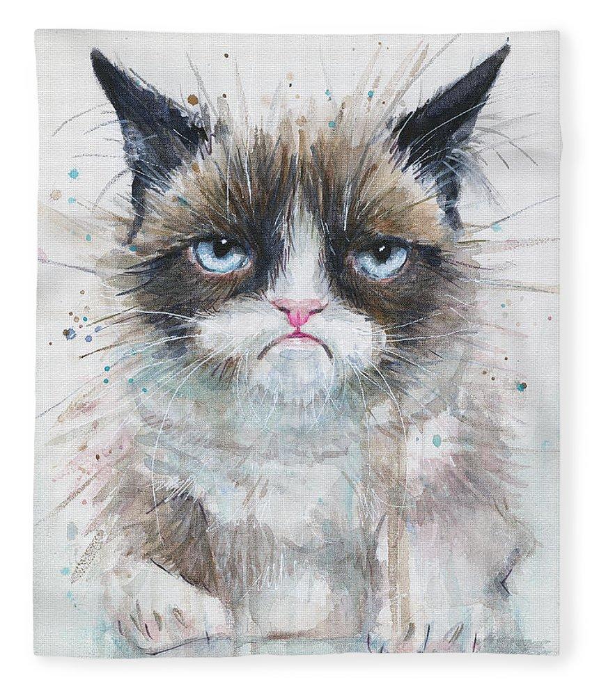 Watercolor Fleece Blanket featuring the painting Grumpy Cat Watercolor Painting by Olga Shvartsur
