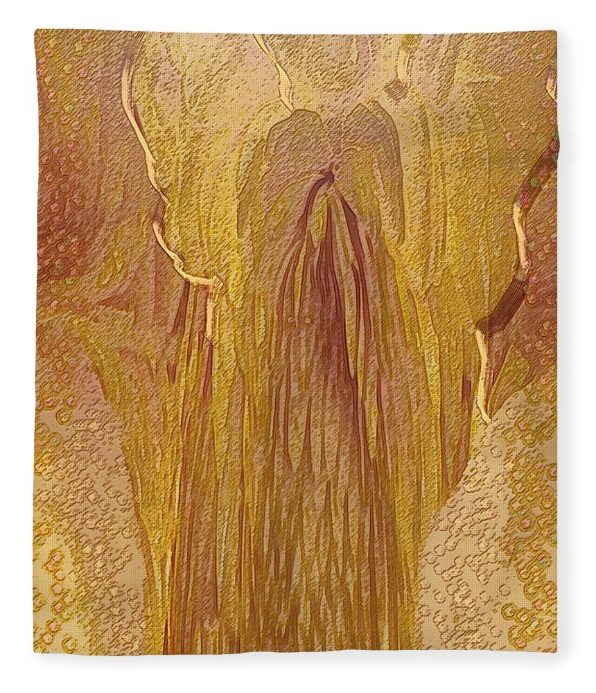 Digital Art Fleece Blanket featuring the digital art Guardian Angel by Linda Sannuti