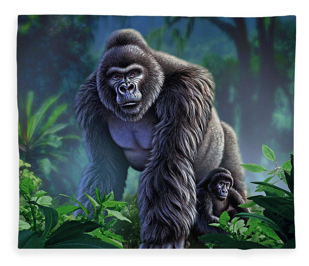 Gorilla Fleece Blanket featuring the painting Guardian by Jerry LoFaro
