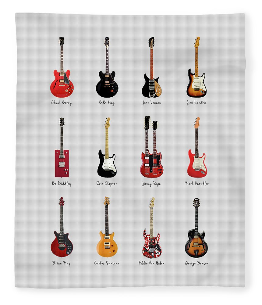 Fender Stratocaster Fleece Blanket featuring the photograph Guitar Icons No1 by Mark Rogan