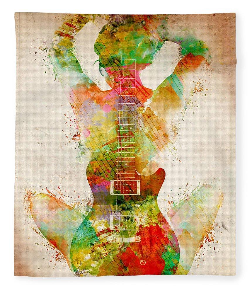 Guitar Fleece Blanket featuring the digital art Guitar Siren by Nikki Smith