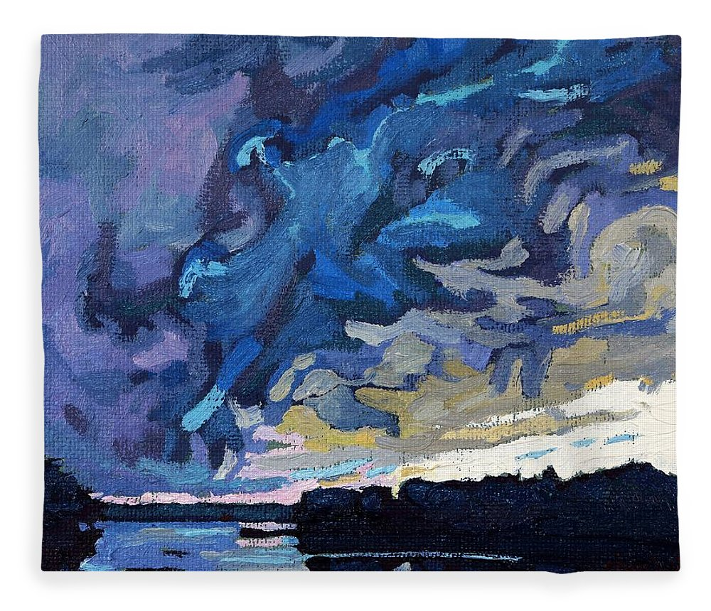 Shelf Fleece Blanket featuring the painting Gust Front by Phil Chadwick