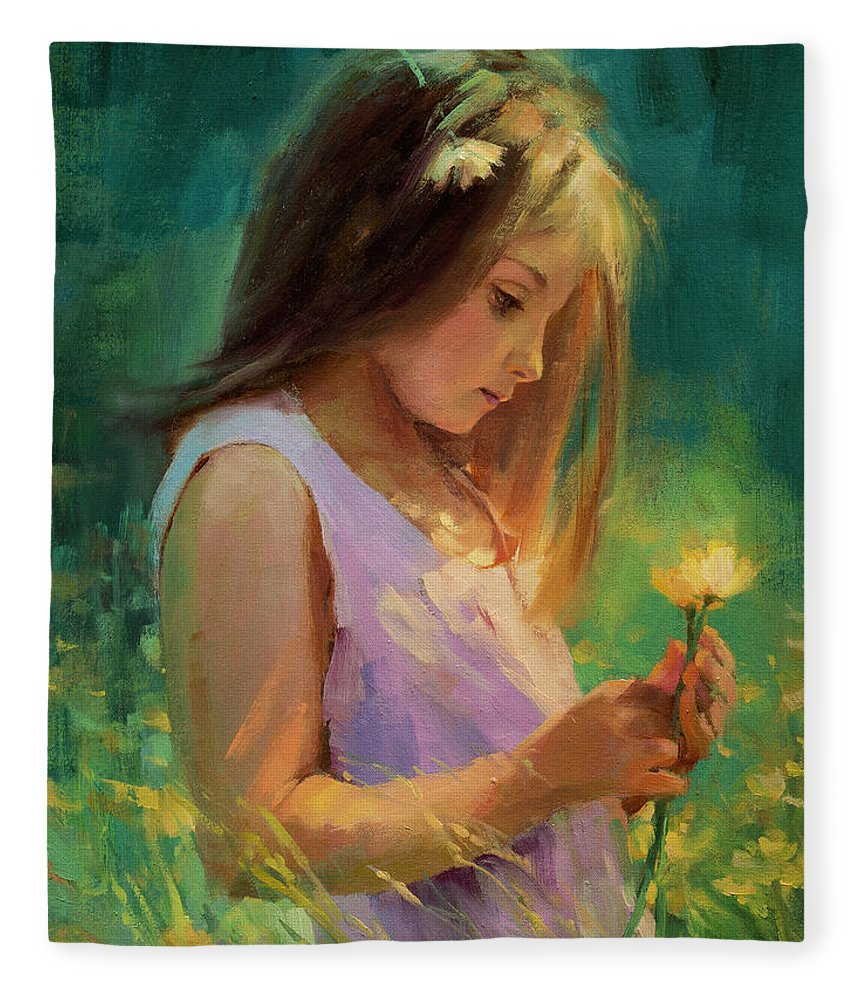 Girl Fleece Blanket featuring the painting Hailey by Steve Henderson