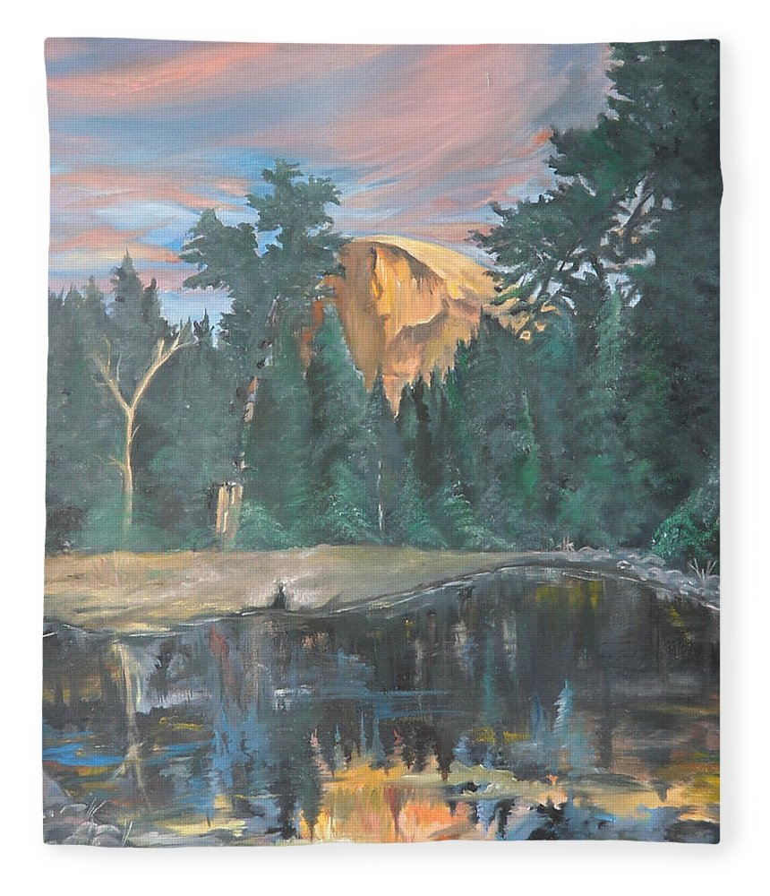 Sunset Fleece Blanket featuring the painting Half Dome Sunset by Travis Day