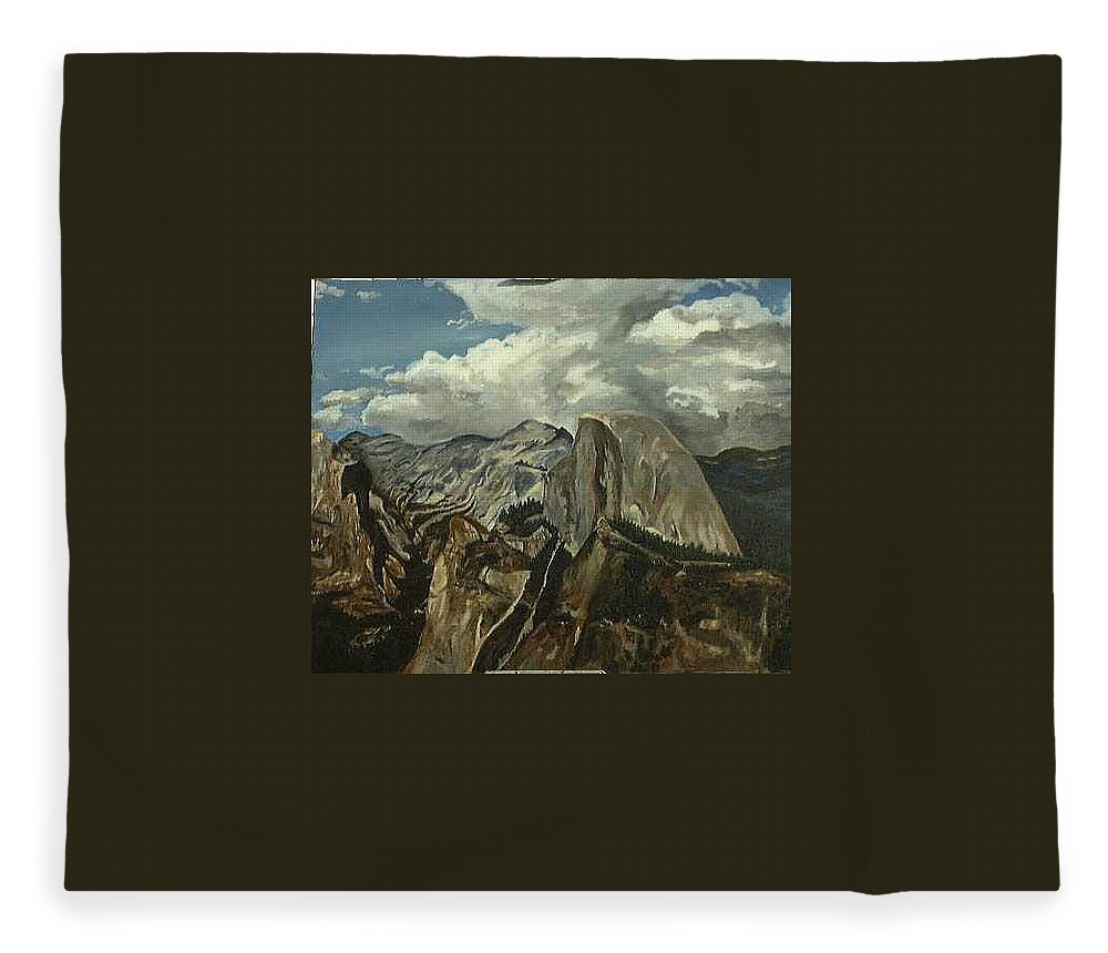 Fleece Blanket featuring the painting Half Dome by Travis Day