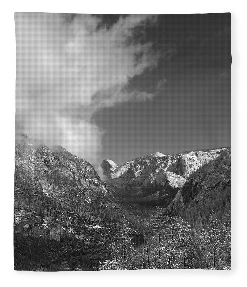 Half Dome Fleece Blanket featuring the photograph Half Dome Winter by Travis Day