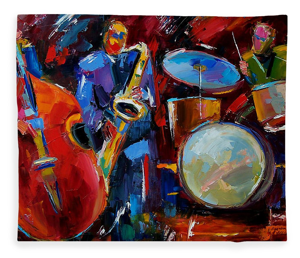 Music Fleece Blanket featuring the painting Half the Band by Debra Hurd