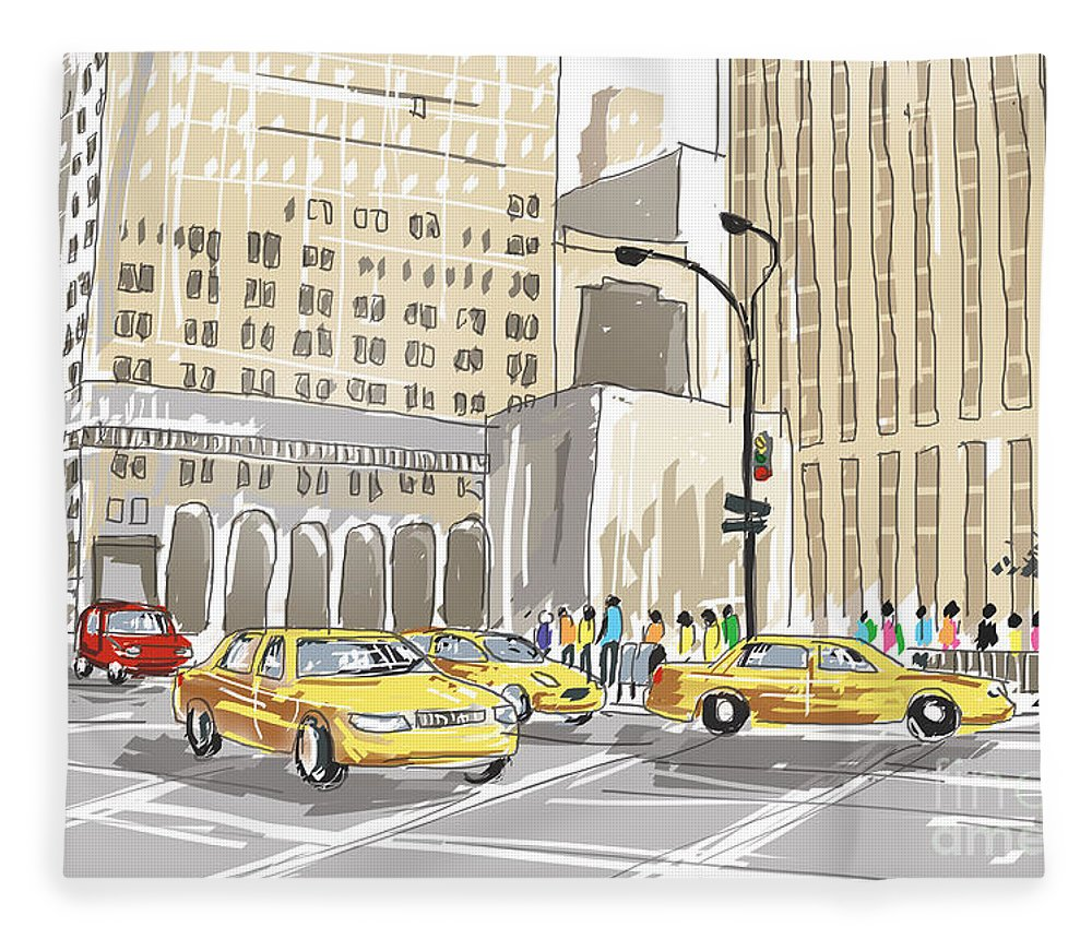 New Fleece Blanket featuring the photograph Hand Drawn Sketch Of A Busy New York City Street by Jorgo Photography - Wall Art Gallery