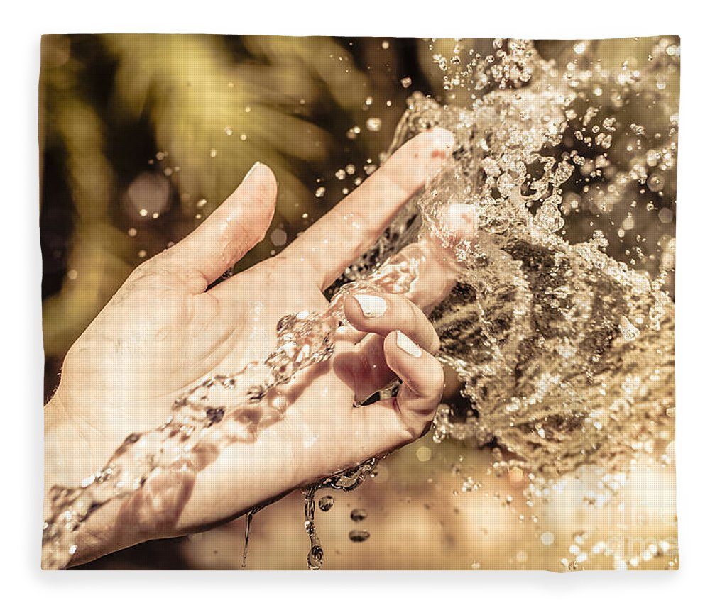 Sensory Fleece Blanket featuring the photograph Hand Of A Woman Catching Water Stream by Jorgo Photography - Wall Art Gallery