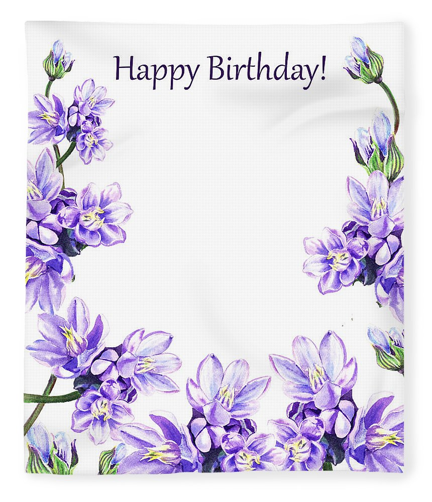 Happy Birthday Purple Flowers Fleece Blanket For Sale By Irina