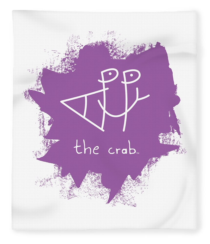 Happy Fleece Blanket featuring the mixed media Happy The Crab - Purple by Chris N Rohrbach
