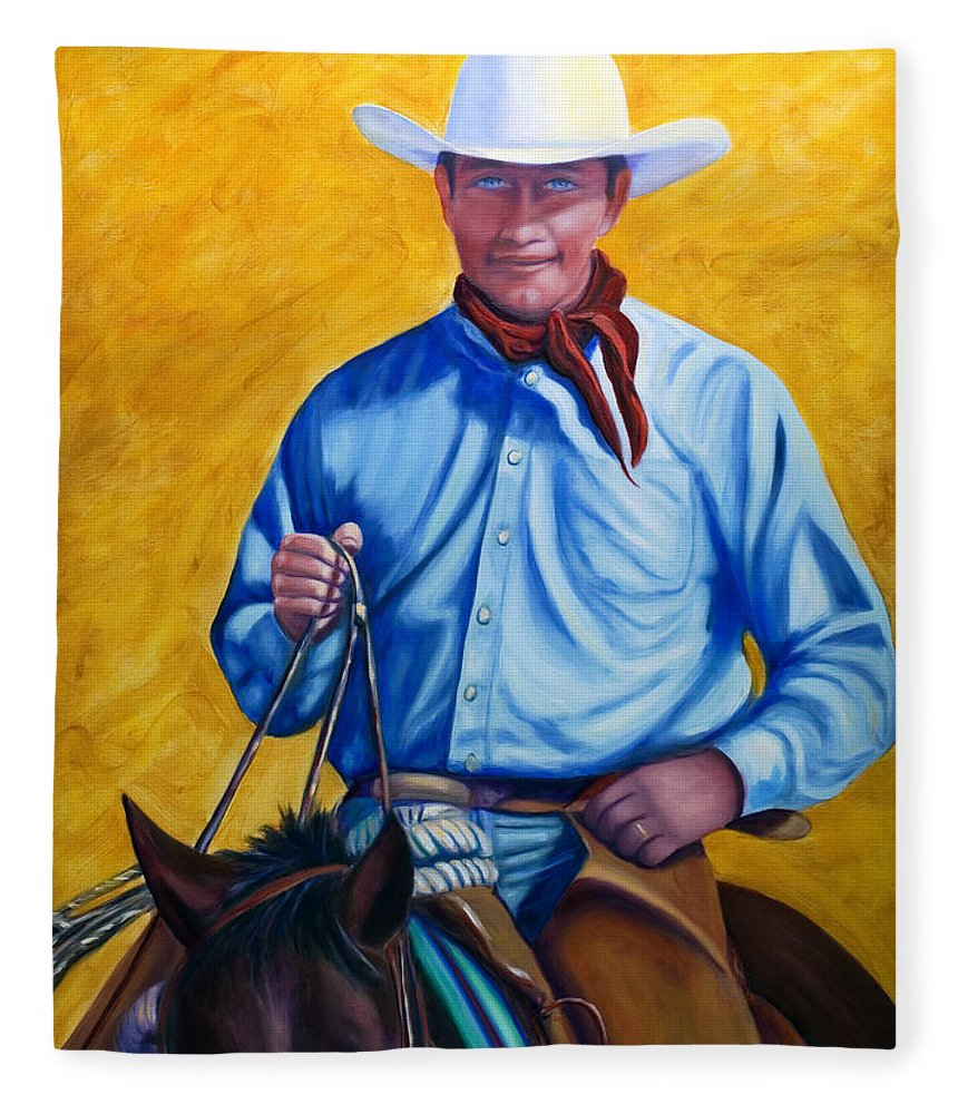 Cowboy Fleece Blanket featuring the painting Happy Trails by Shannon Grissom