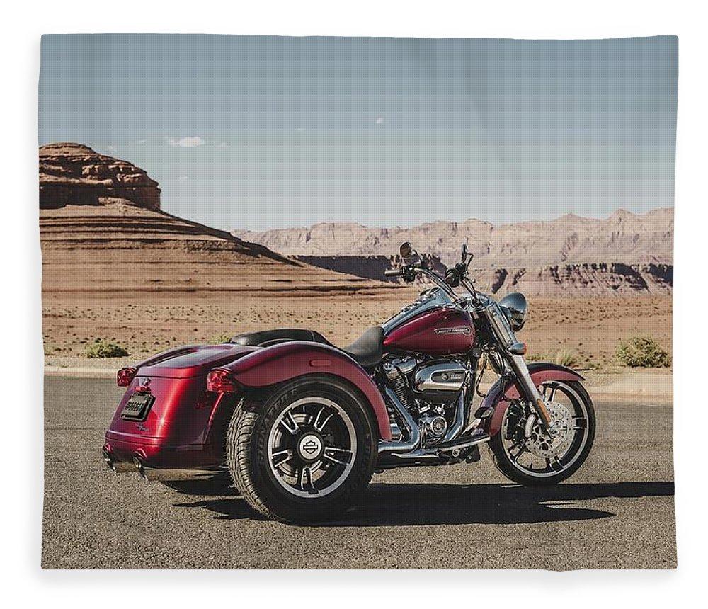Harley-davidson Freewheeler Fleece Blanket featuring the digital art Harley-Davidson Freewheeler by Super Lovely