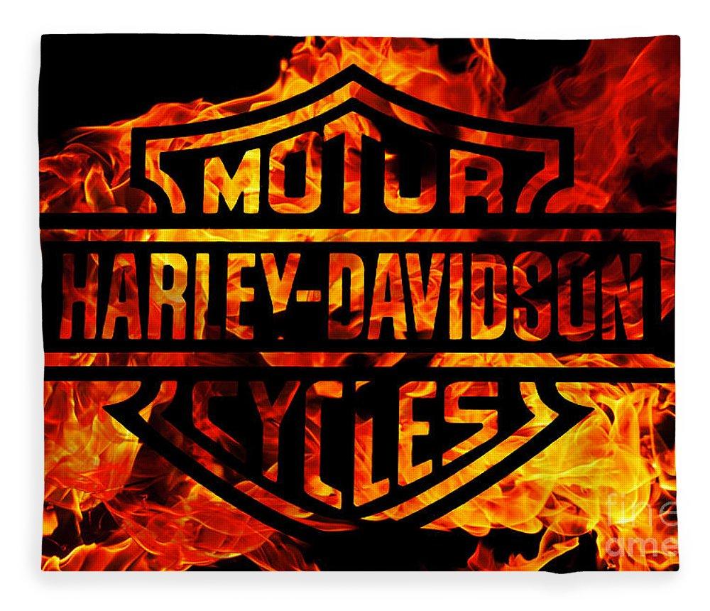 Harley Davidson Logo Flames Fleece Blanket featuring the digital art Harley Davidson Logo Flames by Randy Steele