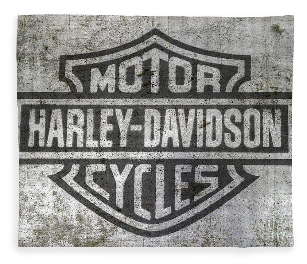 Harley Davidson Logo On Metal Fleece Blanket featuring the digital art Harley Davidson Logo On Metal by Randy Steele