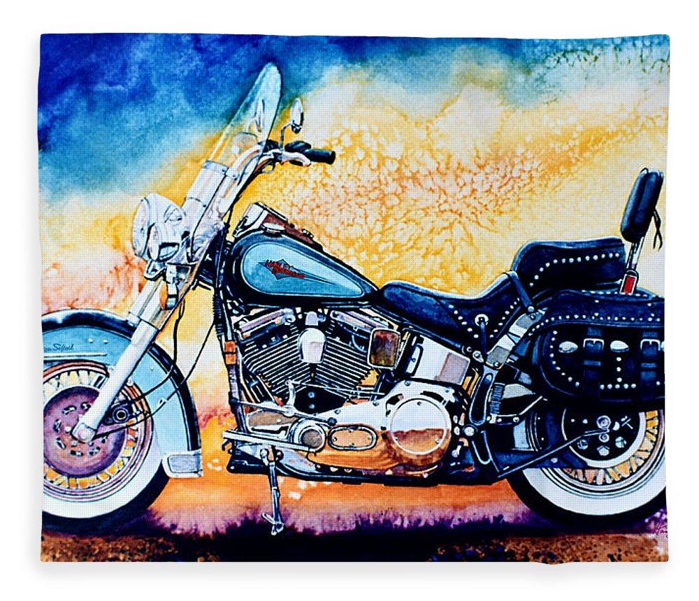 Heritage Softail Fleece Blanket featuring the painting Harley Hog I by Hanne Lore Koehler