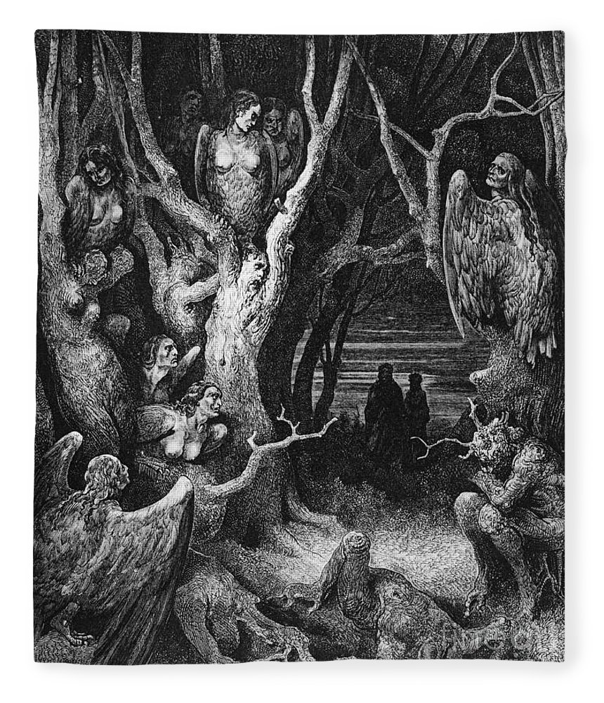 Harpies Fleece Blanket featuring the drawing Harpies by Gustave Dore