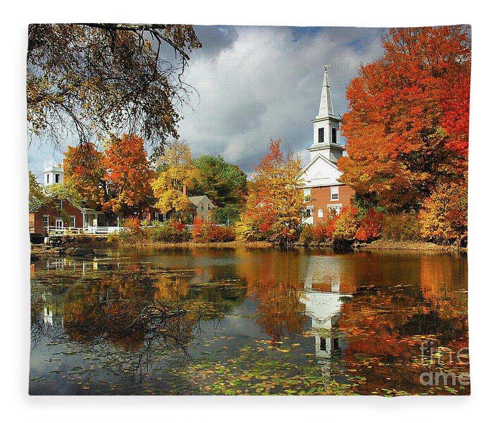 Harrisville New Hampshire Fleece Blanket featuring the photograph Harrisville New Hampshire - New England Fall Landscape White Steeple by Jon Holiday