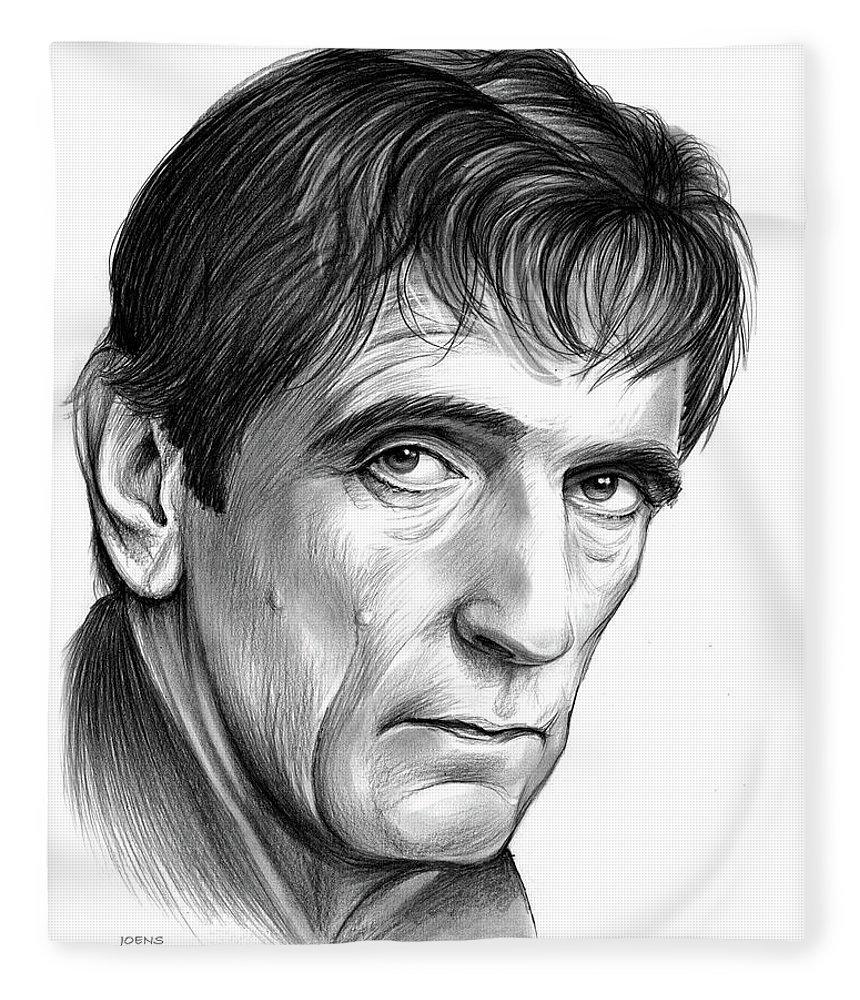Harry Dean Stanton Fleece Blanket featuring the drawing Harry Dean Stanton by Greg Joens