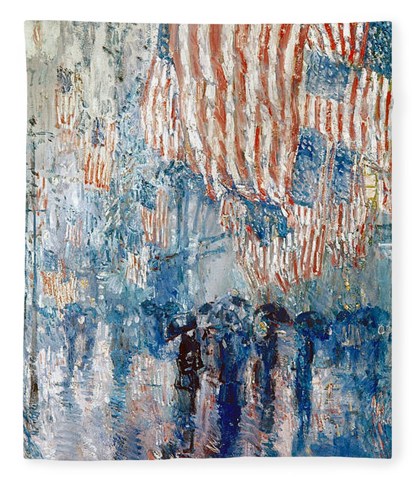 1917 Fleece Blanket featuring the photograph Hassam Avenue In The Rain by Granger