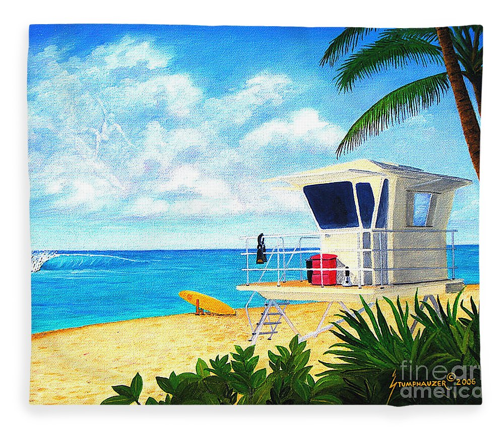 Hawaii Fleece Blanket featuring the painting Hawaii North Shore Banzai Pipeline by Jerome Stumphauzer