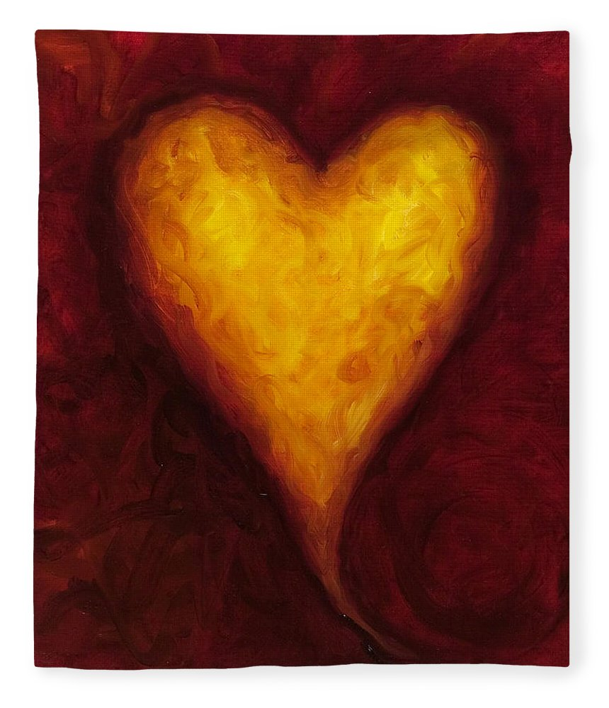 Heart Fleece Blanket featuring the painting Heart Of Gold 1 by Shannon Grissom