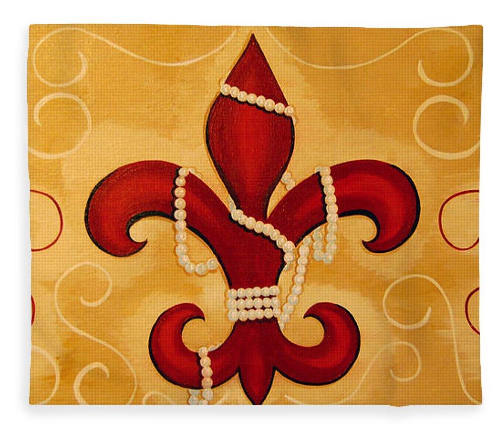 Fleur De Lis Fleece Blanket featuring the painting Heart Of New Orleans by Valerie Carpenter