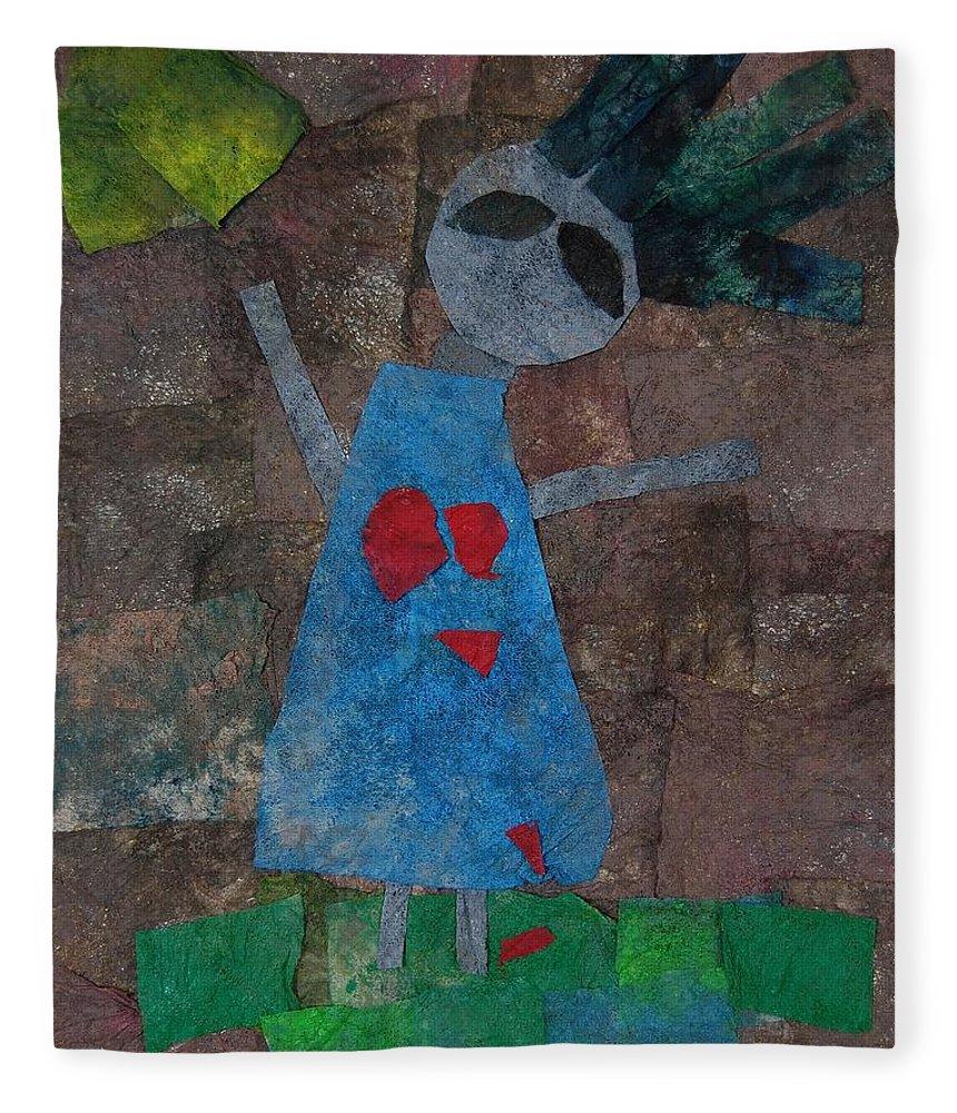 Love Fleece Blanket featuring the mixed media Heartbreak by Charla Van Vlack