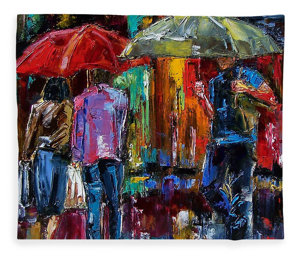 Street Scene Fleece Blanket featuring the painting Heavy Rain by Debra Hurd
