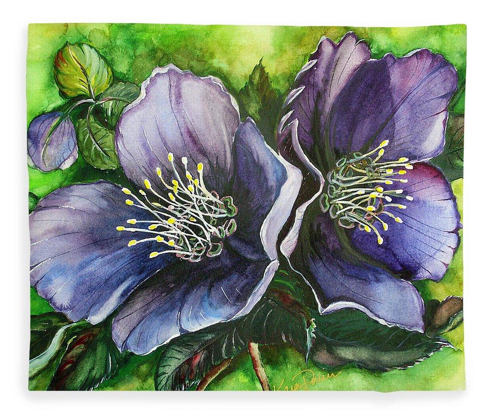 Flower Painting Botanical Painting Original W/c Painting Helleborous Painting Fleece Blanket featuring the painting Helleborous Blue Lady by Karin Dawn Kelshall- Best