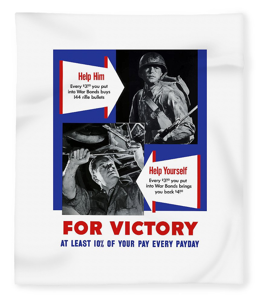 World War Ii Fleece Blanket featuring the painting Help Him Help Yourself by War Is Hell Store