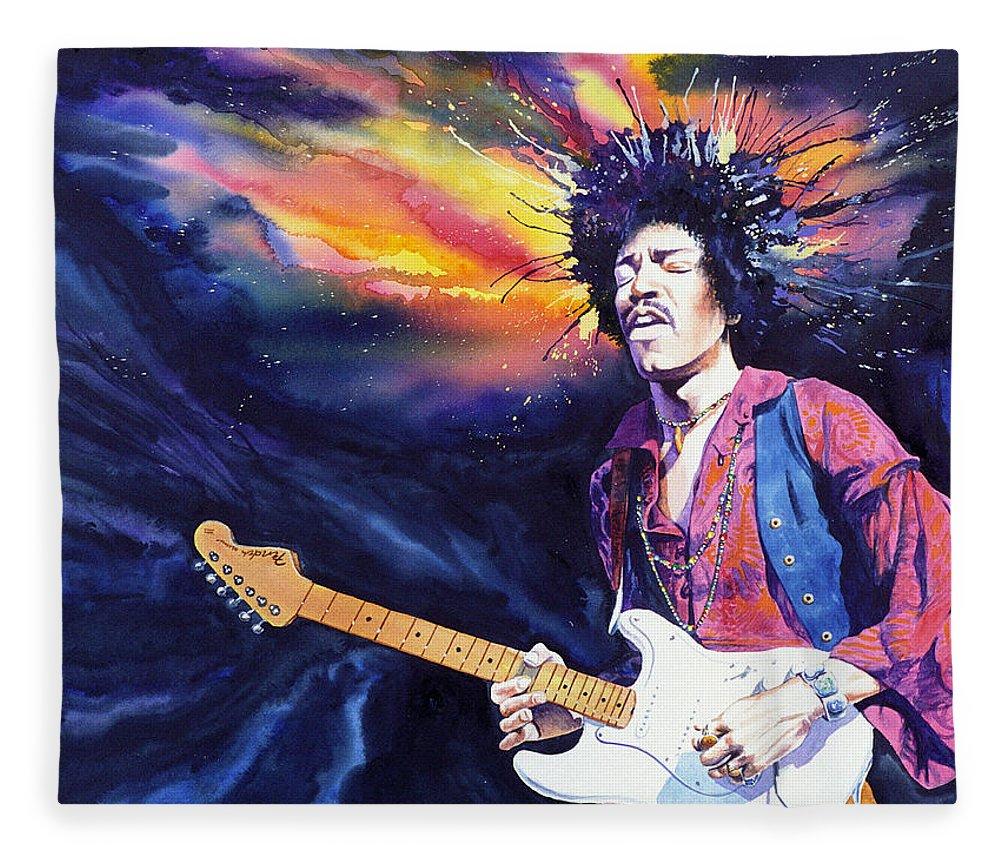 Jimi Hendrix Fleece Blanket featuring the painting Hendrix by Ken Meyer jr