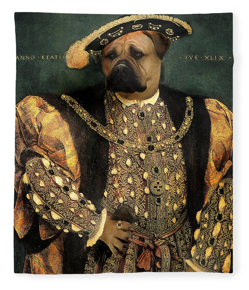 Mastiff Fleece Blanket featuring the digital art Henry VIII as a Mastiff by Galen Hazelhofer