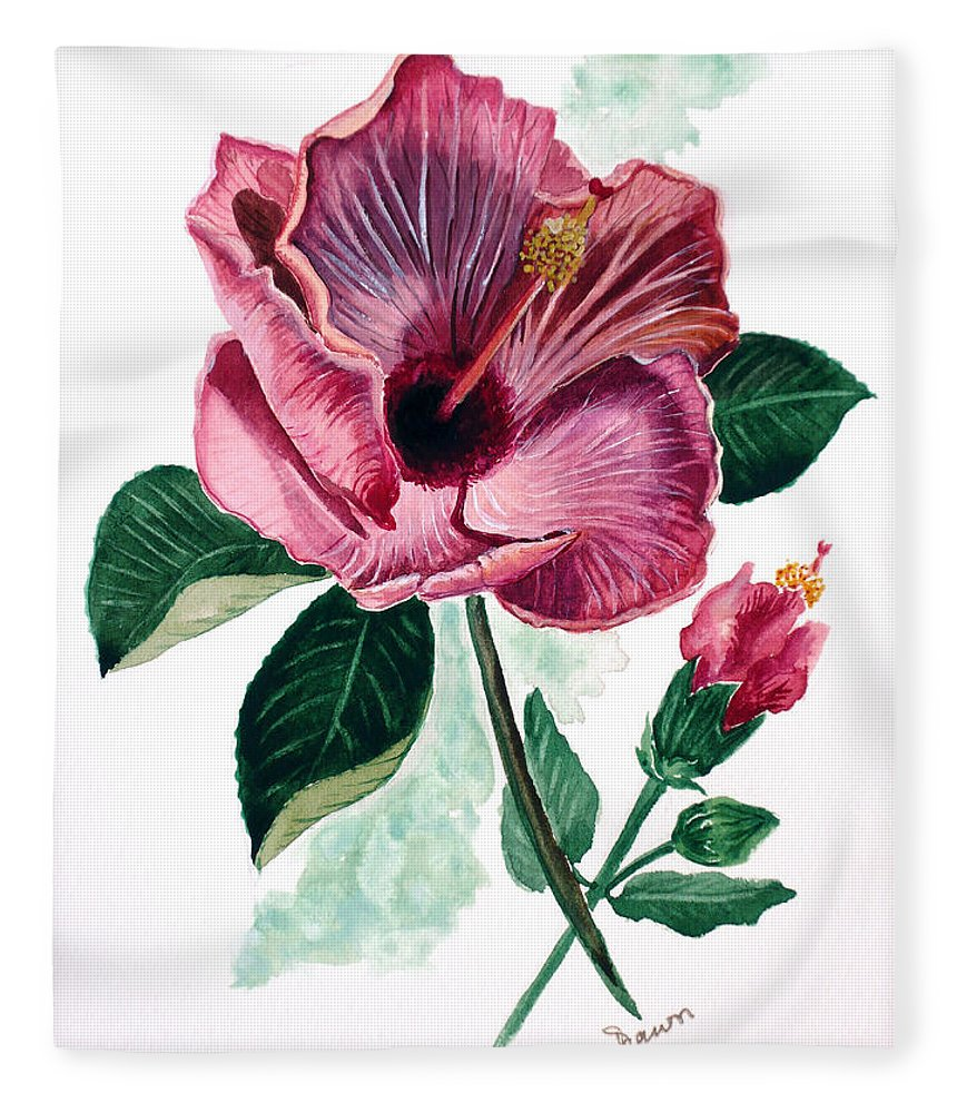 Flora Painting L Hibiscus Painting Pink Flower Painting Greeting Card Painting Fleece Blanket featuring the painting Hibiscus Dusky Rose by Karin Dawn Kelshall- Best
