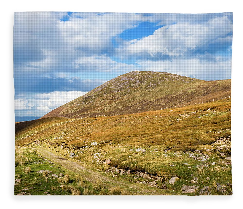 Blue Fleece Blanket featuring the photograph Hiking Trail Across The Mountain Range In County Kerry by Semmick Photo
