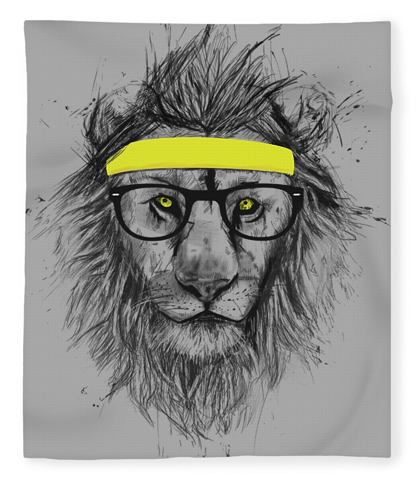 Lion Fleece Blanket featuring the drawing Hipster lion by Balazs Solti