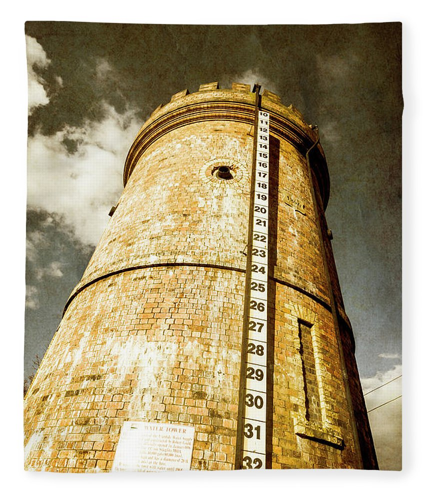 Tower Fleece Blanket featuring the photograph Historic Water Storage Structure by Jorgo Photography - Wall Art Gallery
