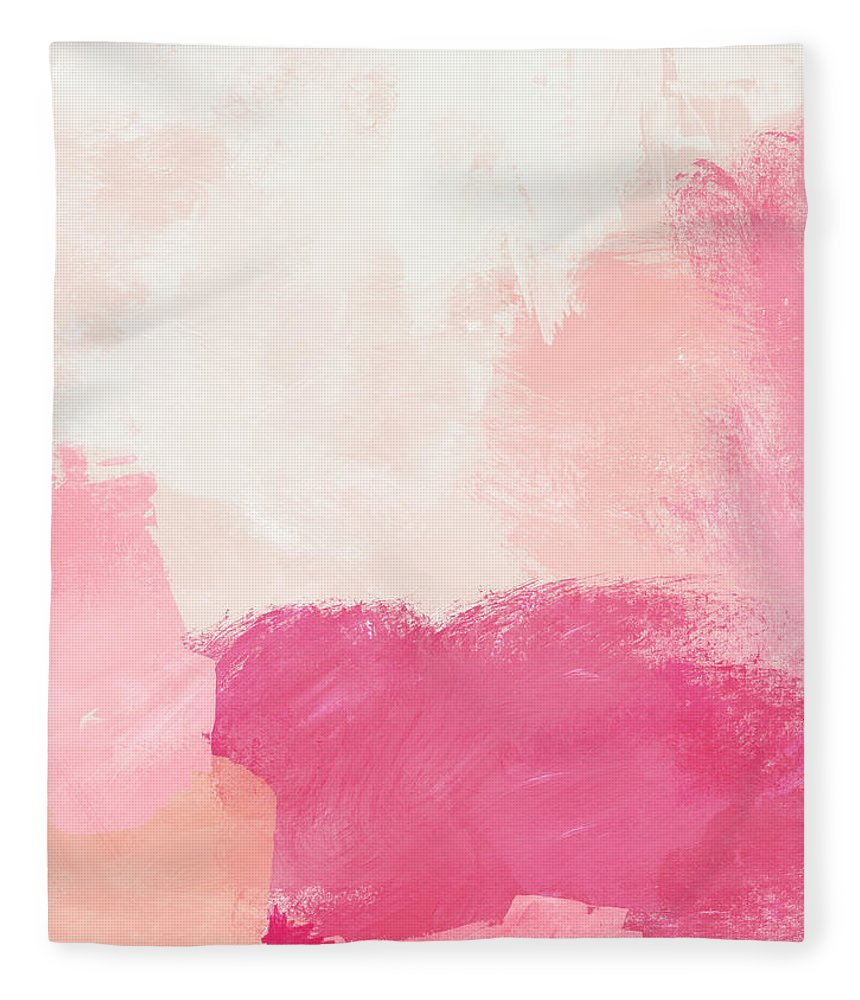 Abstract Fleece Blanket featuring the mixed media History of Pink- Abstract Art by Linda Woods by Linda Woods