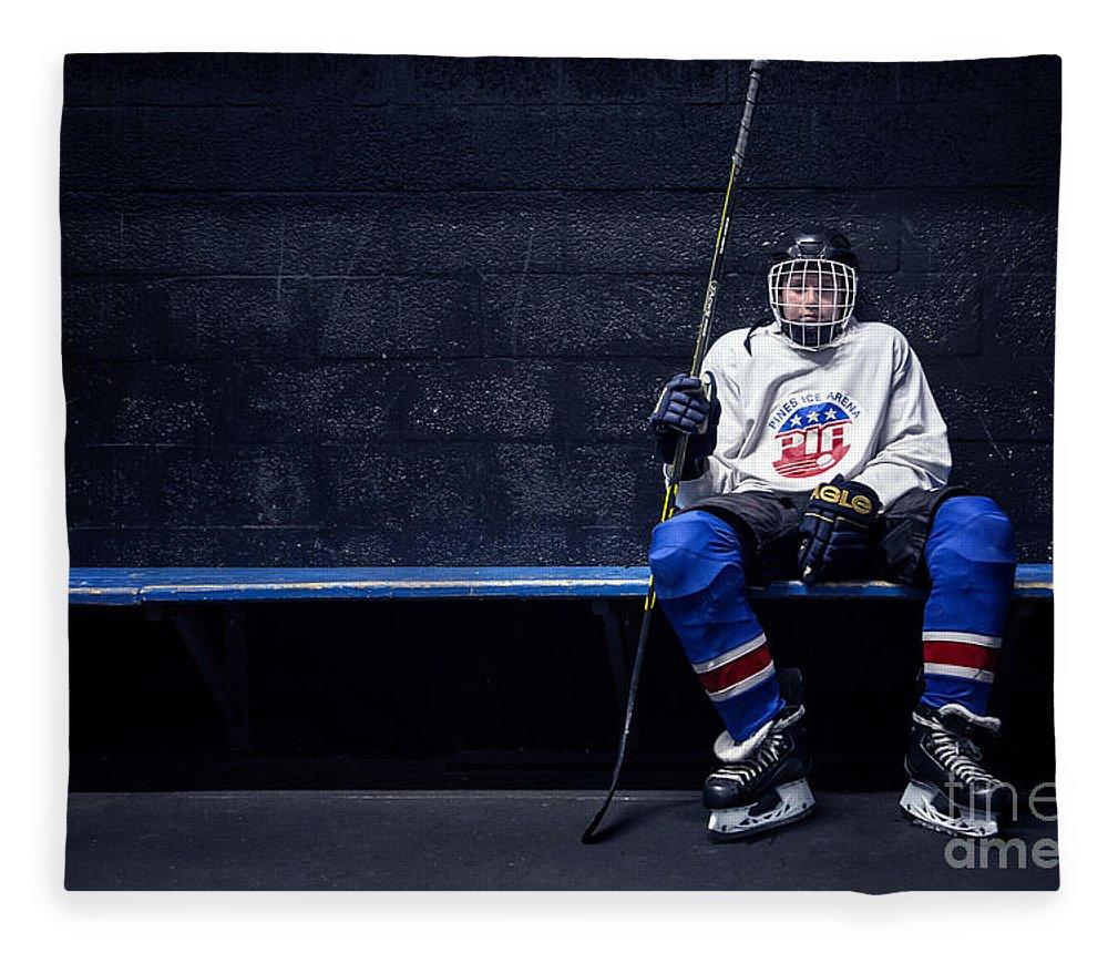 Kremsdorf Fleece Blanket featuring the photograph Hockey Strong by Evelina Kremsdorf