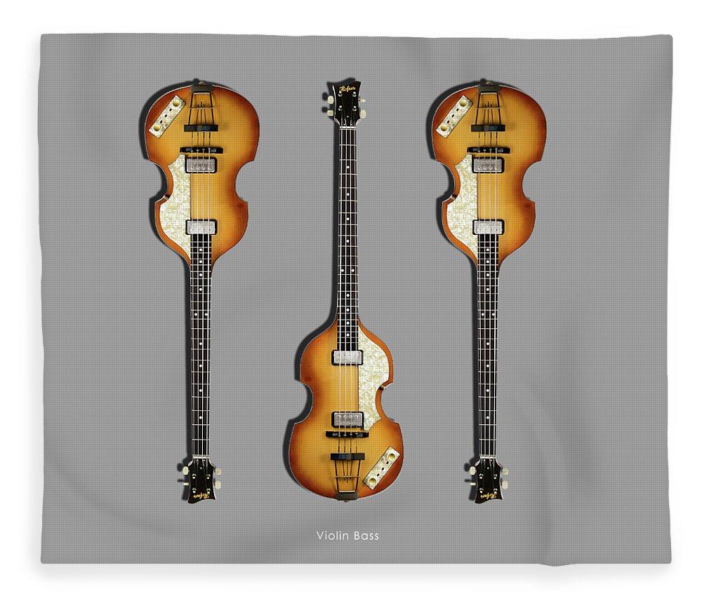 Hofner Violin Bass Fleece Blanket featuring the photograph Hofner Violin Bass 62 by Mark Rogan