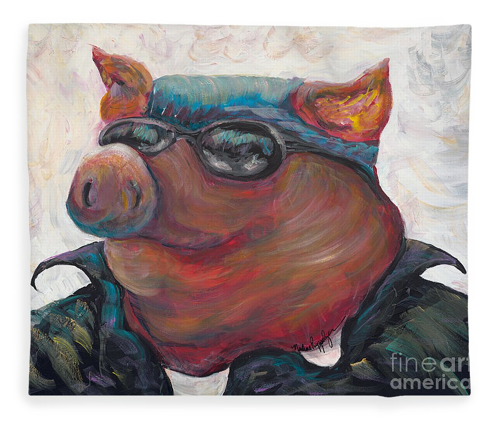 Hog Fleece Blanket featuring the painting Hogley Davidson by Nadine Rippelmeyer