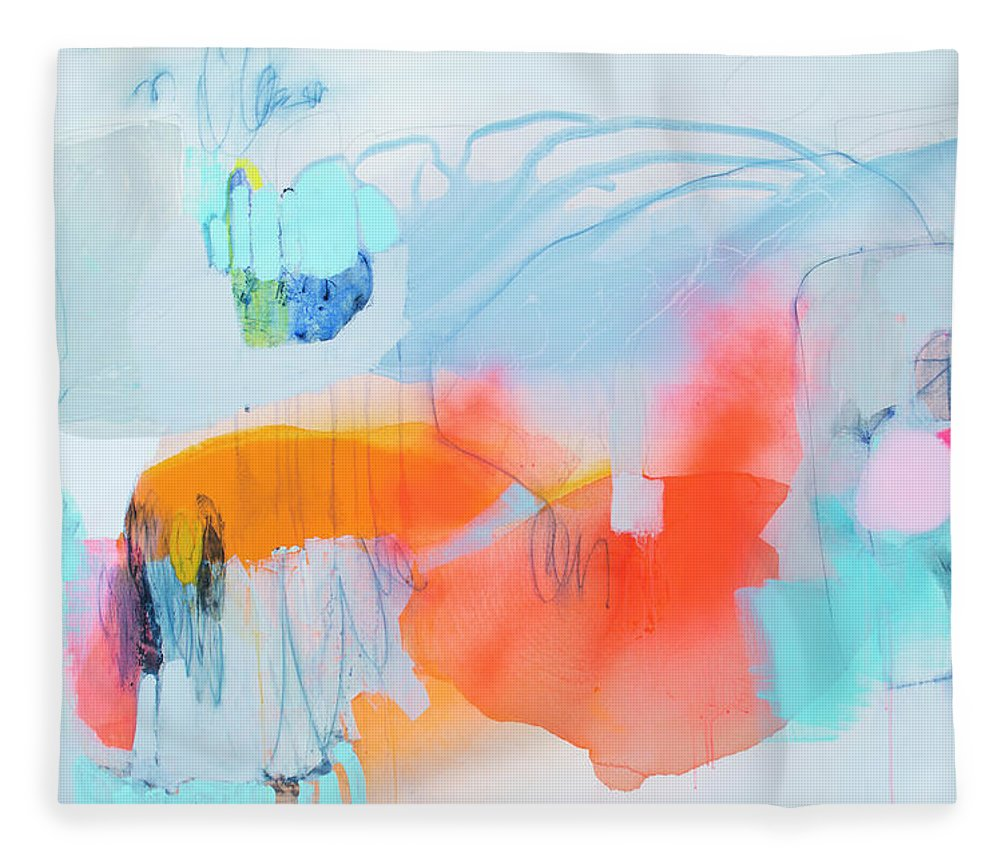 Abstract Fleece Blanket featuring the painting Hold Out by Claire Desjardins