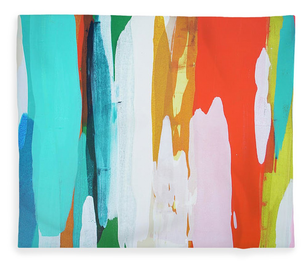 Abstract Fleece Blanket featuring the painting Holiday Everyday by Claire Desjardins