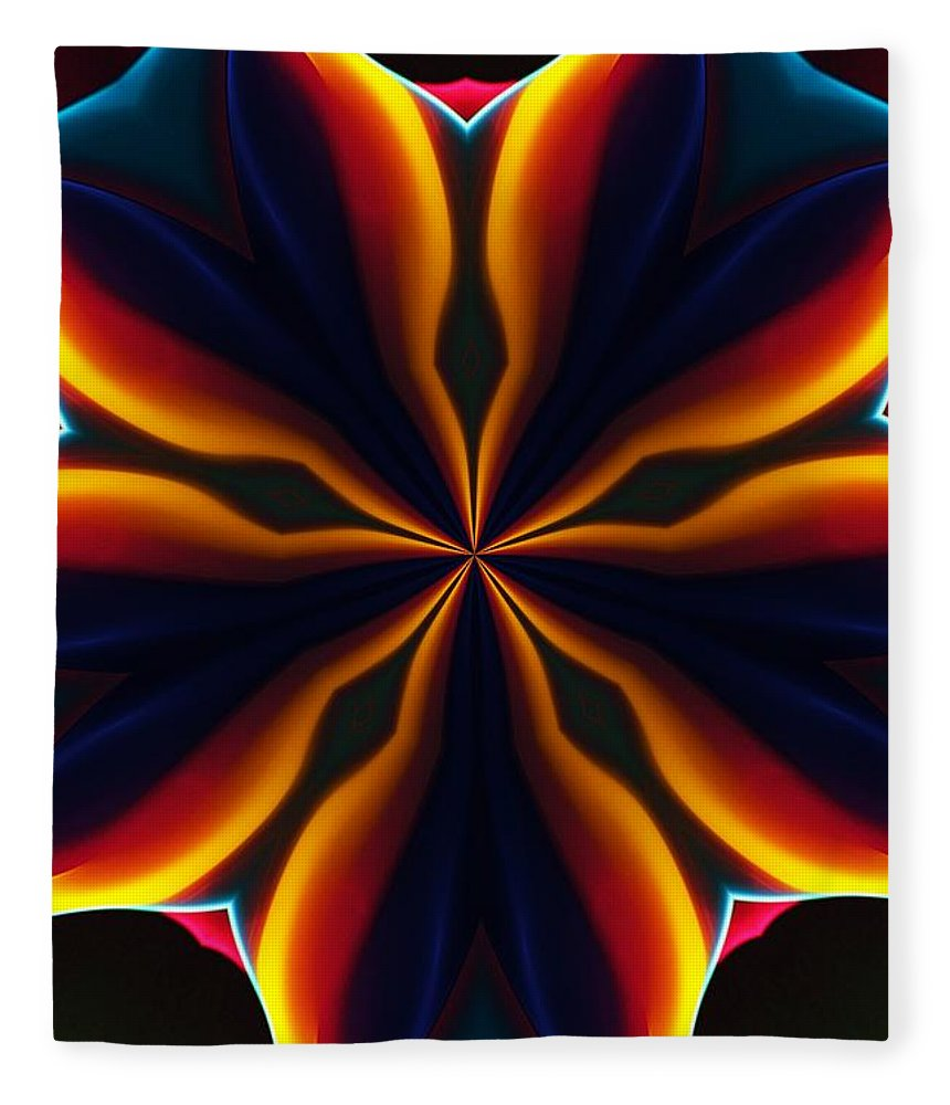 Abstract Fleece Blanket featuring the digital art Homage to Georgia O'Keeffe by David Lane