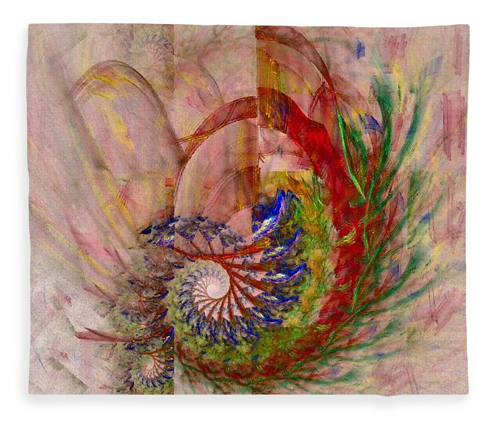 Non-representational Fleece Blanket featuring the digital art Home By The Sea by Nirvana Blues
